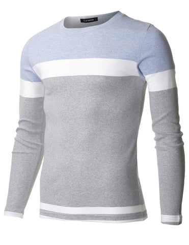 Men's Slim Fit Color Block Long Sleeve Cotton Stretch T-shirt (TRL3004)