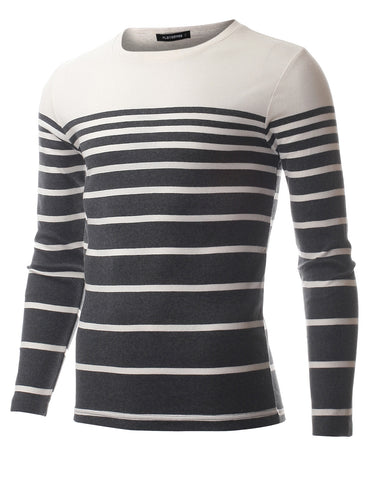 Mens Crewneck Long Sleeve Gradual Stripe T-Shirt (TRL3005)