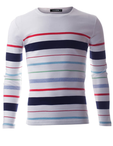 Men's Multi Color Striped Crew Neck Tee shirt with Long Sleeve (TRL3006)