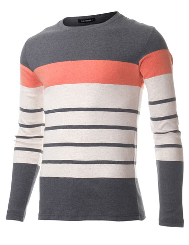 Mens Slim Fit Block Striped Stretch Cotton Long Sleeve Crewneck T-shirt (TRL3007)