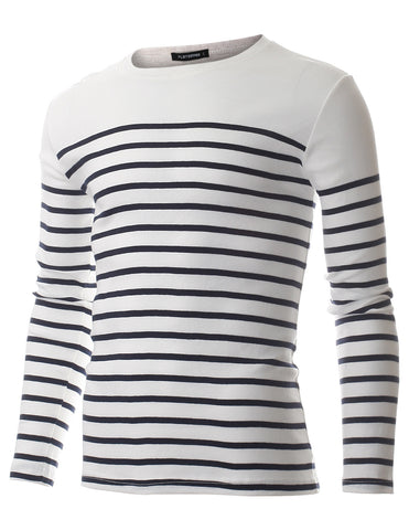 Men's Slim Fit Casual Horizontal Striped Cotton Long Sleeve T-shirt (TRL3009)