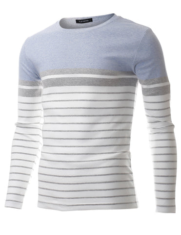 Men's Slim Fit Casual Two Tone Horizontal Striped Crew Neck Long Sleeve Tee Shirt (TRL3010)
