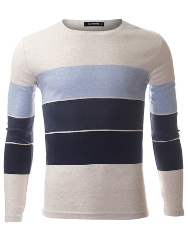 Men's Slim Fit 3 Color Block Striped Cotton Long Sleeve T shirt (TRL3011)