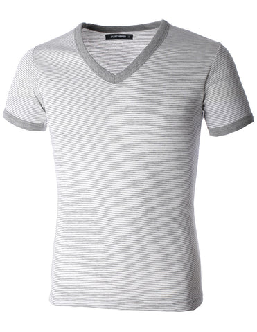 Men's Casual V-Neck Small Striped Short Sleeve Tee Shirt (TV1001)