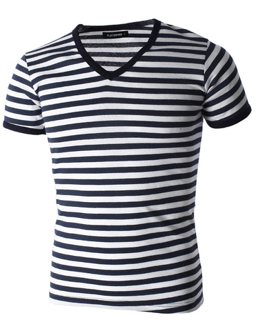 Mens Casual Wide Striped V-Neck Short Sleeve Tee Shirt (TV1002)