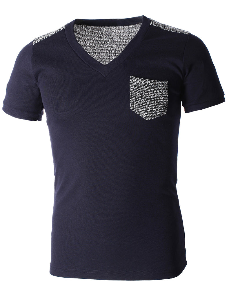 Mens V-Neck Pocket Shoulder Knit Patches Tee Shirt (TV1004)