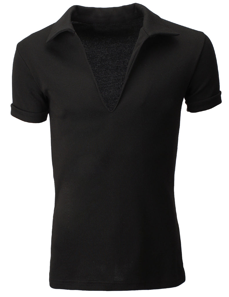 Mens Collar V-Neck Polo T-Shirts Unbuttoned (TV100)