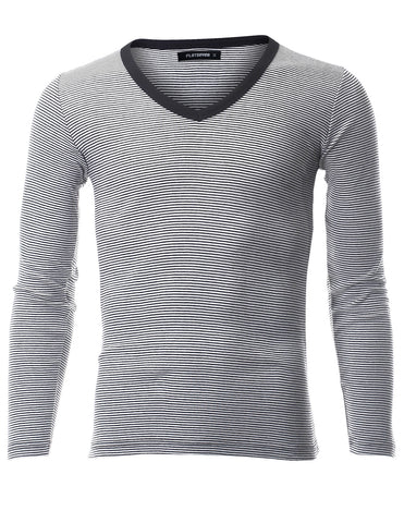 Mens Casual Small Striped V-Neck Long Sleeve Tee Shirt (TVL1001)
