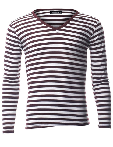 Men's Slim Fit Stripe Pattern Long Sleeve V-Neck Cotton T-Shirt (TVL1002)