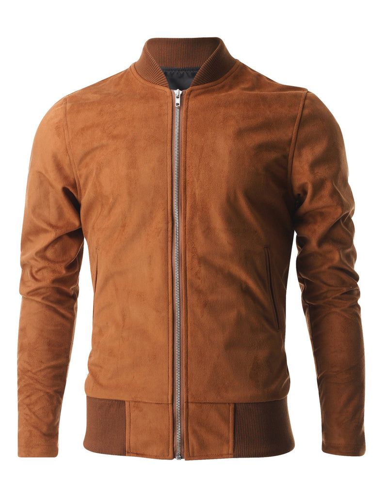 Mens Zip up Faux Suede Classic Baseball Bomber Varsity Jacket (VSJ301)