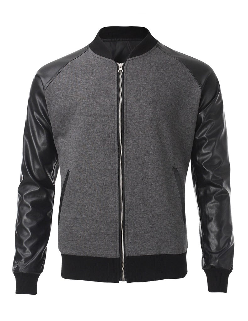 Mens Two Tone Varsity Bomber Baseball Jacket with Faux Leather Sleeve (VSJ302)