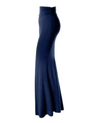 Womens High Waisted Flared Maxi Skirt (WSC101)