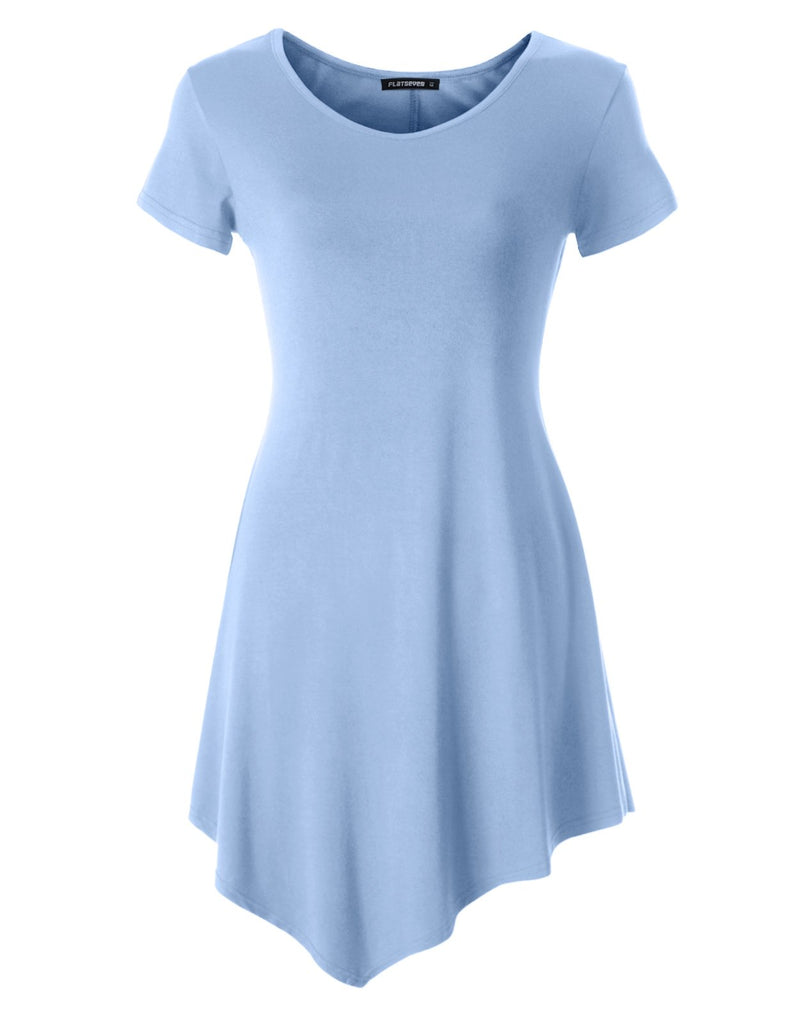 Womens Scoop Neck Tunic Tops with Short Sleeve (WTURSCX101)