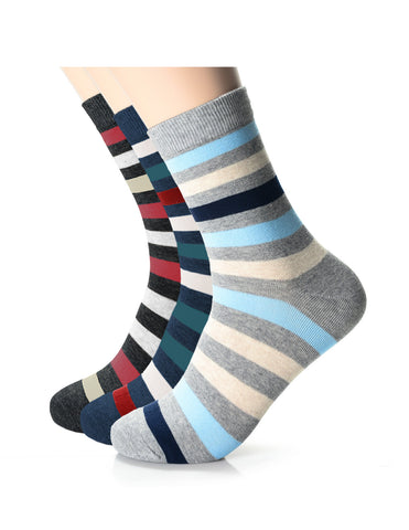 Mens Fashion Striped Athletic Crew Socks (XM1001F)