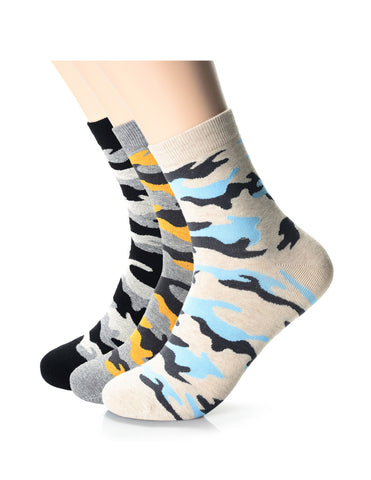 Mens Fashion Athletic Camo Crew Socks (XM1001I)