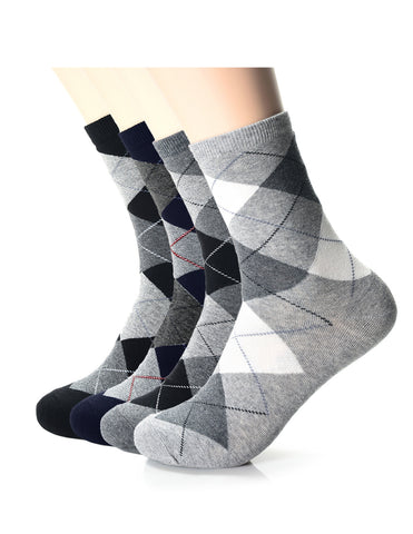 Mens Fashion Casual Dress Argyle Crew Socks (XM1001K)
