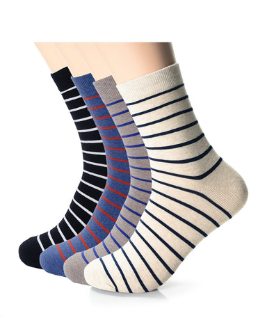 Mens Fashion Casual Dress Stripe Crew Socks (XM1001M)