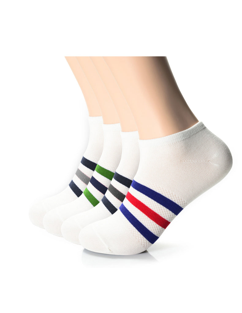 Mens Designer Fashion Striped Athletic Ankle Socks (XMM1001G)