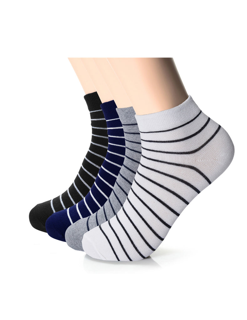 Mens Designer Striped Quarter Athletic Socks (XMM1001N)