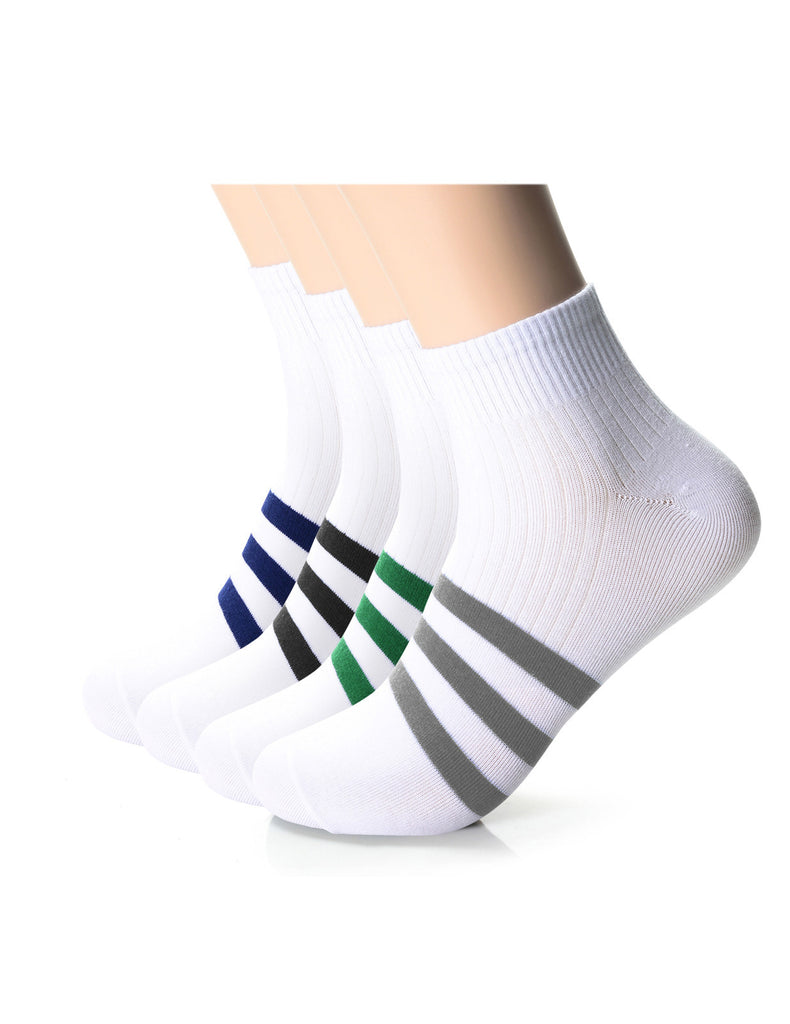 Mens Designer Striped Athletic Quarter Socks (XMM1001O)