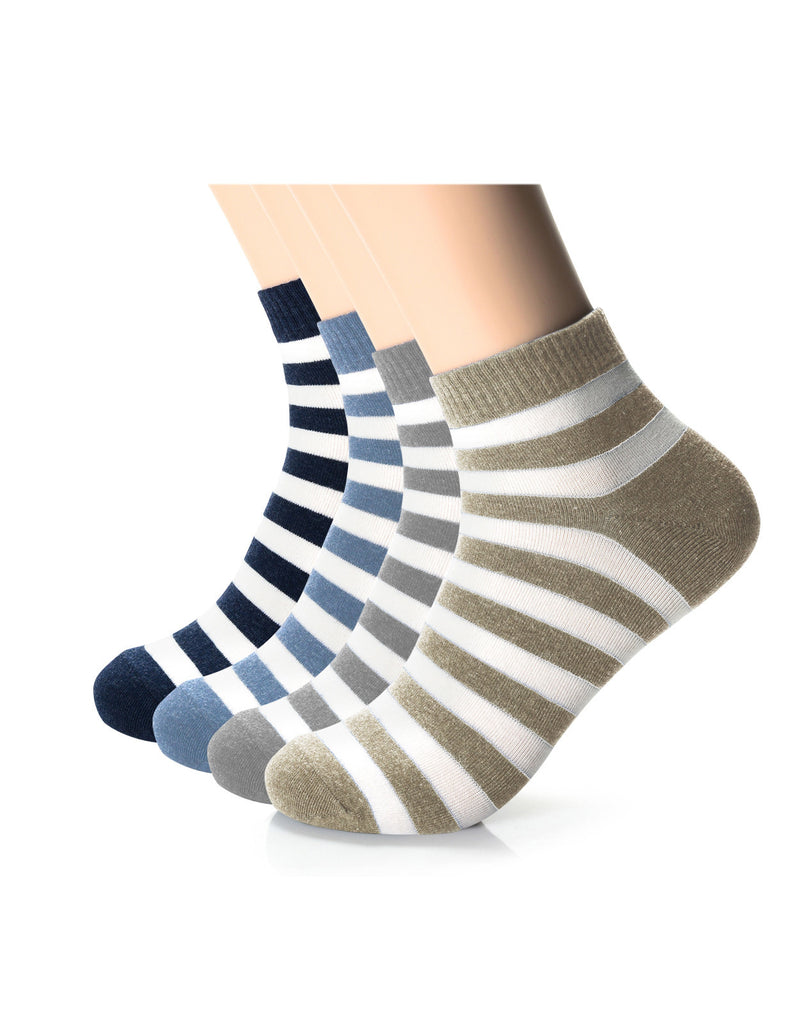 Mens Designer Comfort Quarter Striped Socks (XMM1001Q)