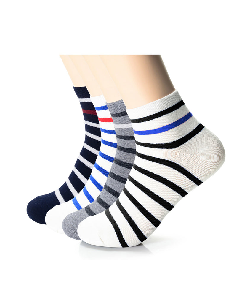 Mens Designer Comfort Quarter Athletic Striped Socks (XMM1001S)