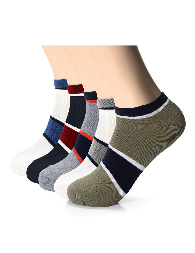 Mens Designer Comfort Striped Quarter Socks (XMM1001T)