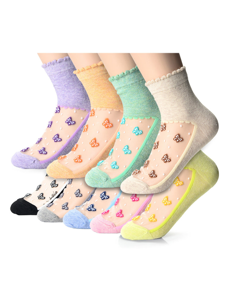 Womens Fashion Mesh Floral Casual Dress Socks (XW1001C)