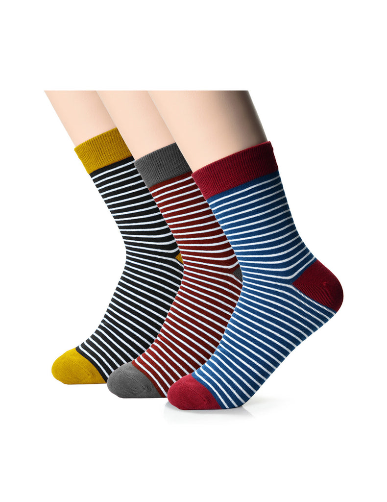 Womens Fashion Candy Striped Casual Dress Crew Socks (XW1001D)