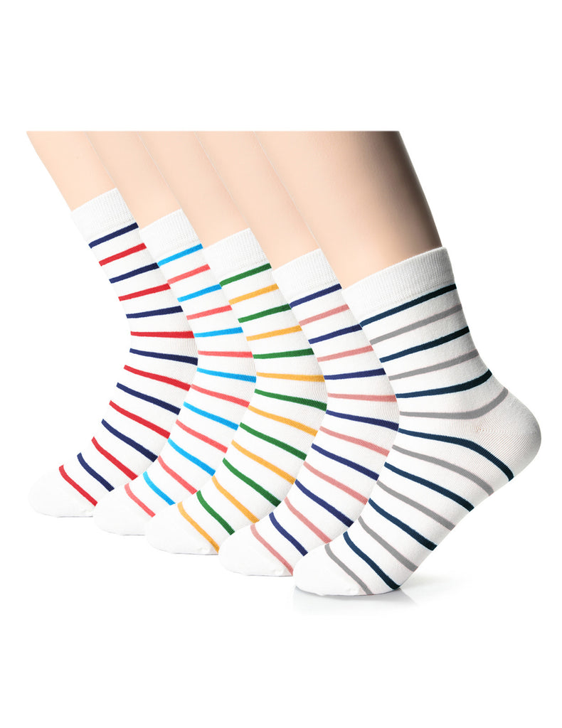Womens Fashion Striped Athletic Crew Socks (XW1001L)