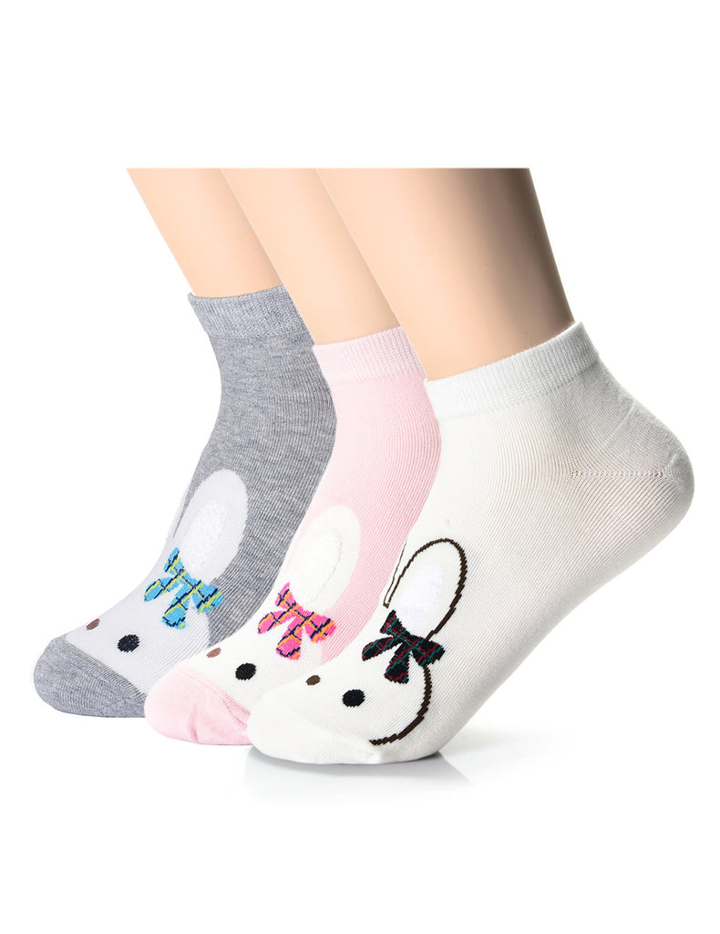 Womens Fashion Bunny Friends Casual Ankle Socks (XWM1001J)