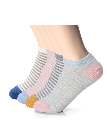 Womens Fashion Thin Striped Casual Dress Ankle Socks (XWM1001N)