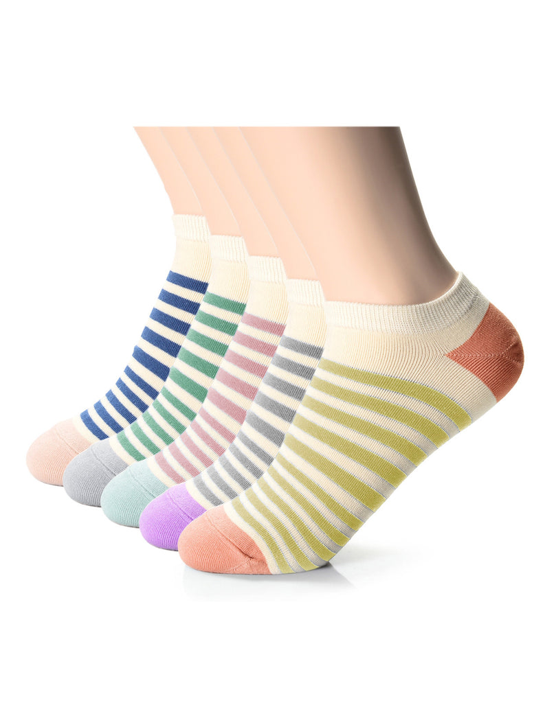 Womens Fashion Casual Dress Thin Striped Ankle Socks (XWM1001O)