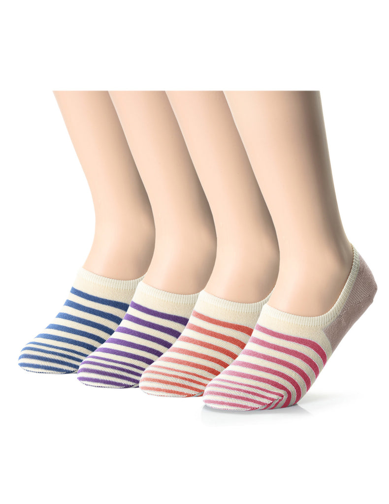 Womens Striped Casual Fashion No Show Socks (XWS1001H)