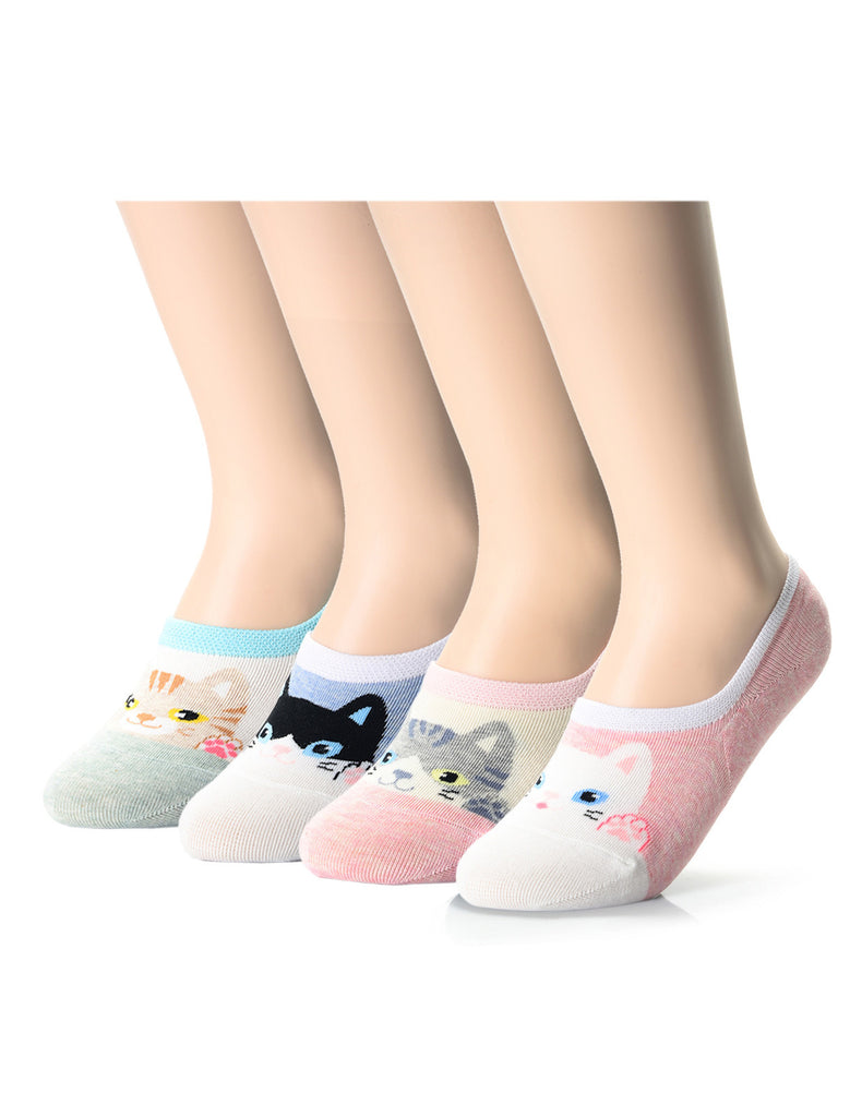 Womens Fashion Cat Friends No Show Socks (XWS1001I)