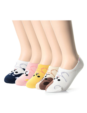 Womens Fashion Puppy Friends No Show Socks (XWS1001J)