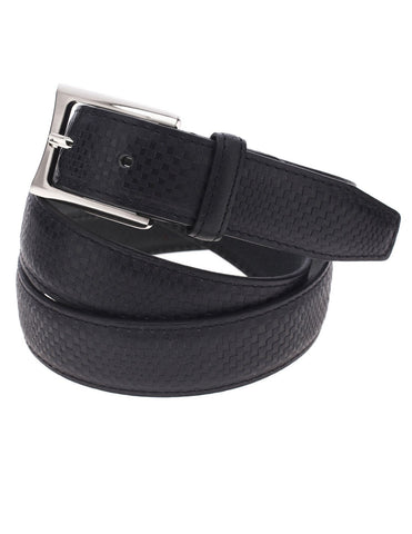 Mens Premium Mini Check Plaid Leather Belt with Square Metal Buckle (Y402)