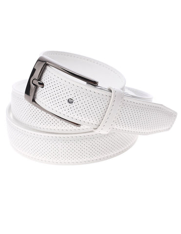 Mens Perforated Genuine Leather Belt with Rectangular Metal Buckle (Y405)