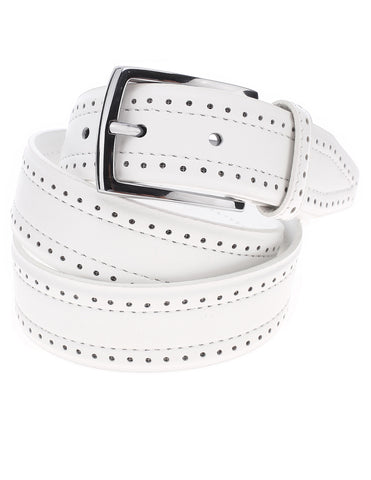 Mens Perforated Casual Leather Belt with Single Buckle (Y406)