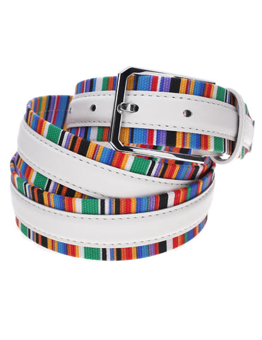 Mens Multi Striped Canvas Web Belt with Center Leather Band (Y407)