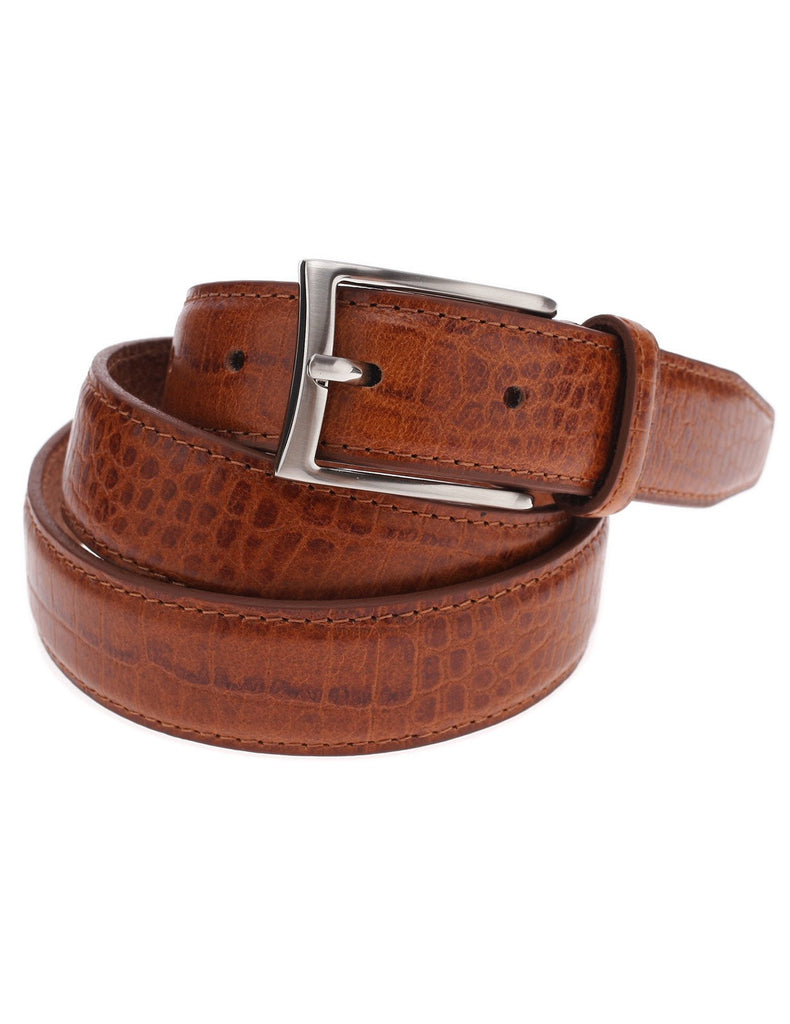 Mens Genuine Leather Crocodile Skin Embossed Silver Buckle Classic Belt (Y409)
