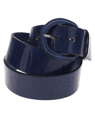 Mens Embossed Pattern Genuine Leather Belt with Horseshoe Buckle (Y411)