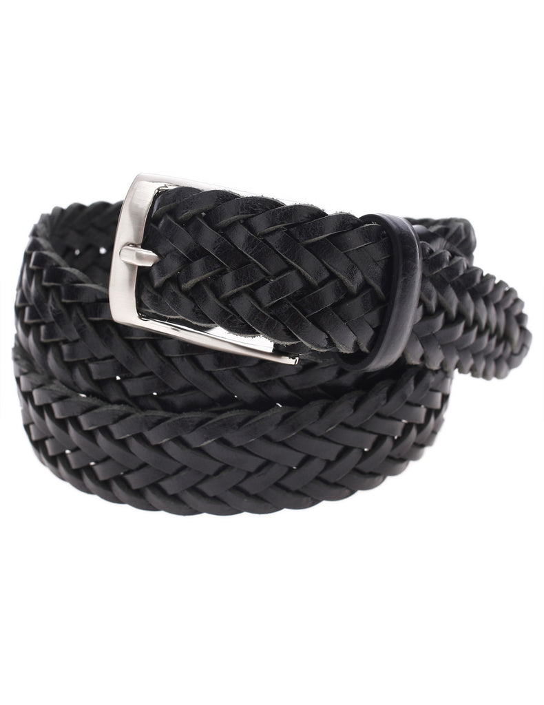 Mens Braided Elastic Stretch Leather Belt with Square Silver Buckle (Y413)
