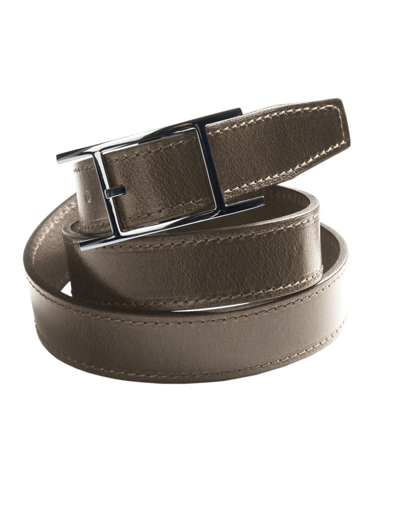 Mens Genuine Leather Dress Belt with Single Prong Buckle (Y422)