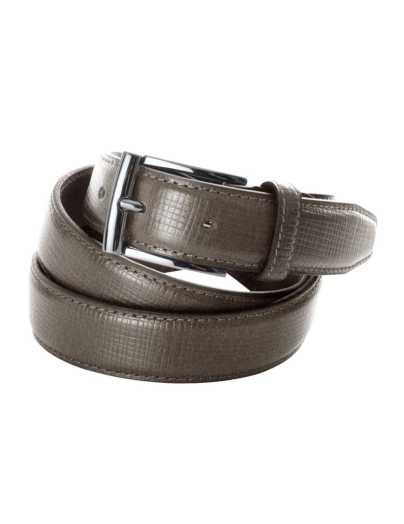 Mens Premium Check Plaid Leather Belt with Metal Buckle (Y426)