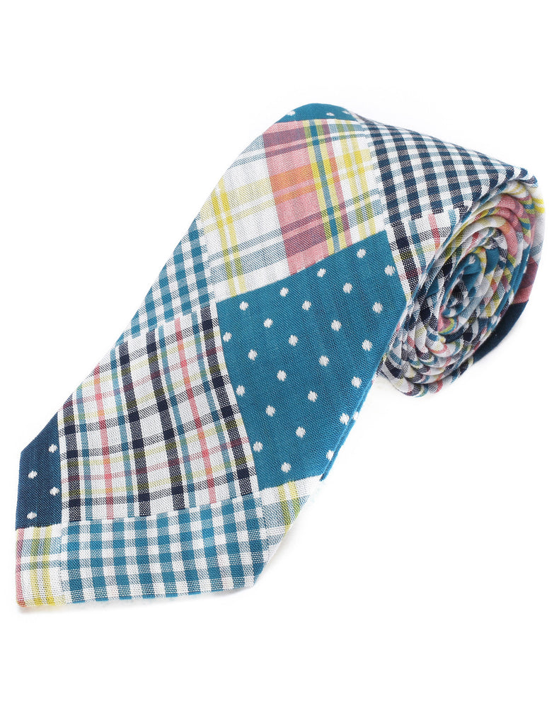 Mens Designer Woven Polka Dot with Check Pattern Patchwork Tie Cotton (YA002)