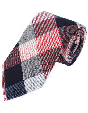 Mens Designer Woven Large Check Pattern Tie Plaid Cotton (YA003)
