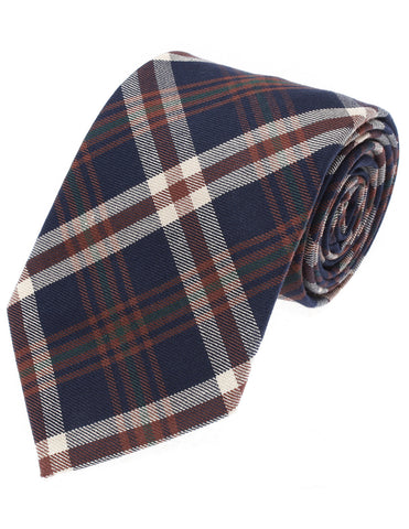Mens Designer Woven Check Pattern Tie Plaid Cotton (YA004)
