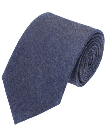 Mens Designer Blue Denim Solid Color Neck Tie (YA007)