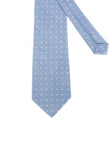 Mens Designer Denim White Polka Dots Neck Tie (YA008)
